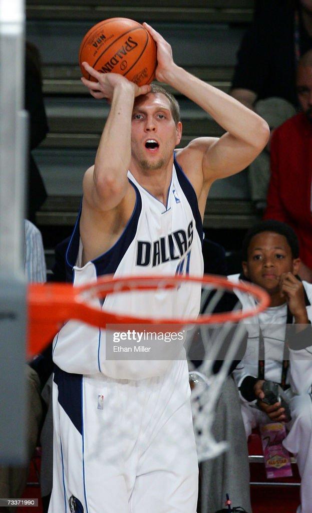 Dirk Nowitzki of the Dallas Mavericks competes during the Foot Locker ThreePoint Shootout during NBA AllStar Wekend at the Thomas Mack Center...