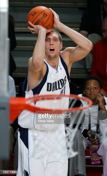 Dirk Nowitzki of the Dallas Mavericks competes during the Foot Locker ThreePoint Shootout during NBA AllStar Wekend at the Thomas Mack Center...