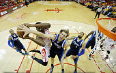 Dirk Nowitzki of the Dallas Mavericks defends against Clint Capela of the Houston Rockets during Game Five in the Western Conference Quarterfinals of...