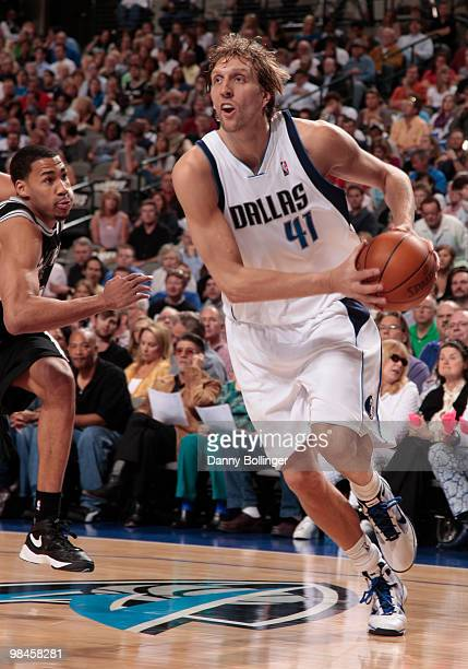 Dirk Nowitzki of the Dallas Mavericks drives against the San Antonio Spurs during a game at the American Airlines Center on April 14 2010 in Dallas...