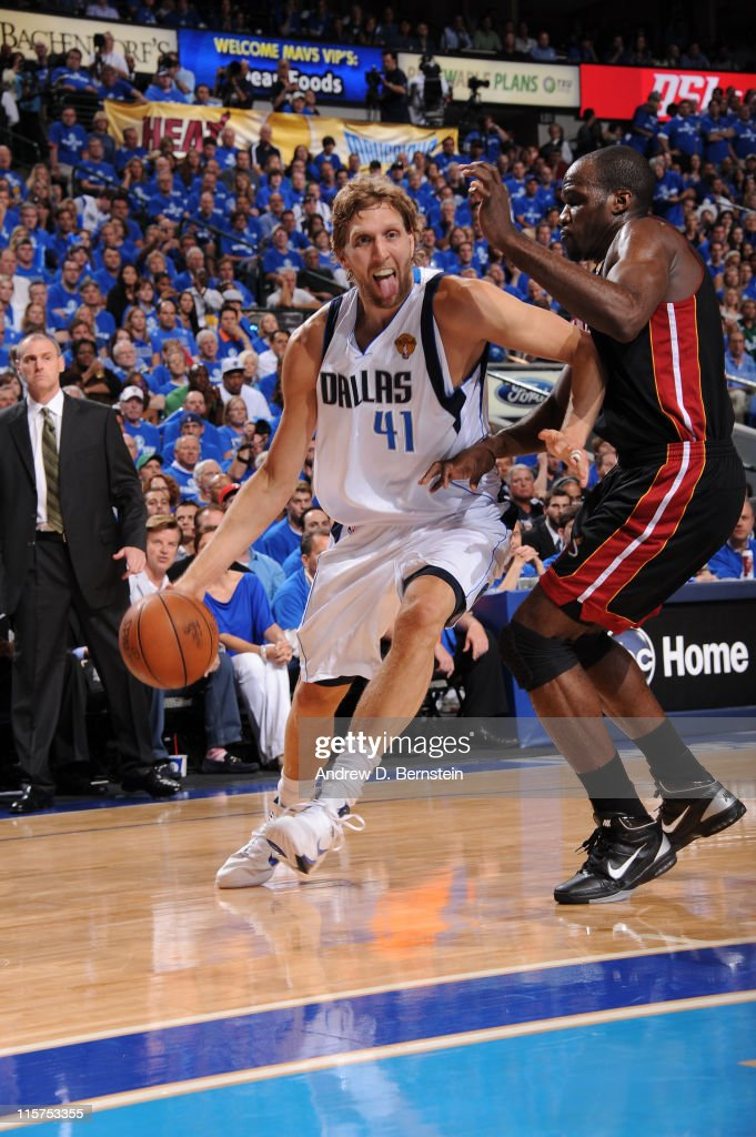 <a gi-track='captionPersonalityLinkClicked' href=/galleries/search?phrase=Dirk+Nowitzki&family=editorial&specificpeople=201490 ng-click='$event.stopPropagation()'>Dirk Nowitzki</a> #41 of the Dallas Mavericks drives to the basket against <a gi-track='captionPersonalityLinkClicked' href=/galleries/search?phrase=Joel+Anthony&family=editorial&specificpeople=4092295 ng-click='$event.stopPropagation()'>Joel Anthony</a> #50 of the Miami Heat during Game Five of the 2011 NBA Finals on June 9, 2011 at the American Airlines Center in Dallas, Texas.