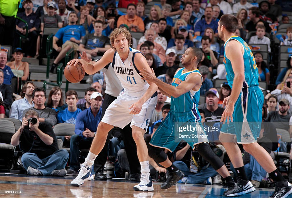 Dirk Nowitzki #41 of the Dallas Mavericks drives to the basket against the New Orleans Hornets on April 17, 2013 at the American Airlines Center in Dallas, Texas.