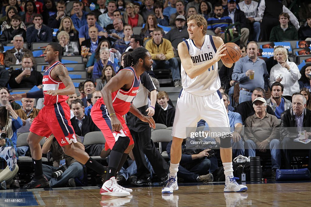 <a gi-track='captionPersonalityLinkClicked' href=/galleries/search?phrase=Dirk+Nowitzki&family=editorial&specificpeople=201490 ng-click='$event.stopPropagation()'>Dirk Nowitzki</a> #41 of the Dallas Mavericks drives to the basket against the Washington Wizards on November 12, 2013 at the American Airlines Center in Dallas, Texas.