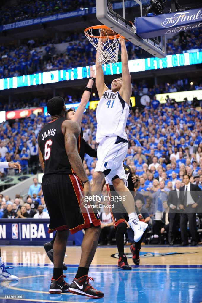 <a gi-track='captionPersonalityLinkClicked' href=/galleries/search?phrase=Dirk+Nowitzki&family=editorial&specificpeople=201490 ng-click='$event.stopPropagation()'>Dirk Nowitzki</a> #41 of the Dallas Mavericks dunks against the Miami Heat during Game Five of the 2011 NBA Finals on June 9, 2011 at the American Airlines Center in Dallas, Texas.