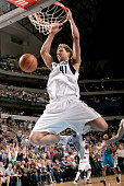 Dirk Nowitzki of the Dallas Mavericks dunks against the New Orleans Hornets on April 10 2009 at the American Airlines Center in Dallas Texas NOTE TO...