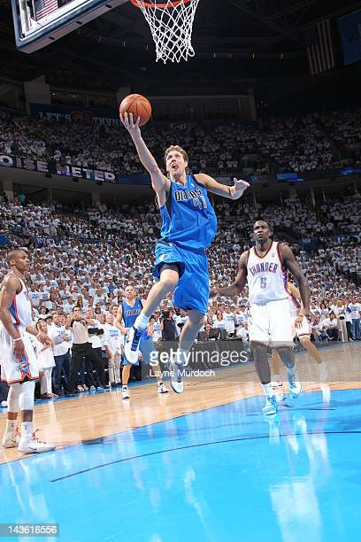 Dirk Nowitzki of the Dallas Mavericks during the Game Two of the Western Conference Quarterfinals between the Dallas Mavericks and the Oklahoma City...