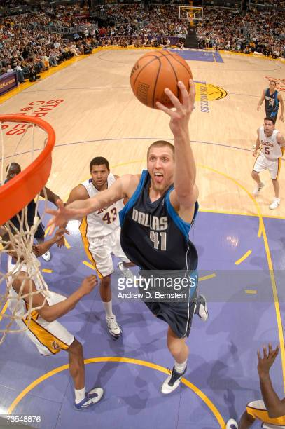 Dirk Nowitzki of the Dallas Mavericks goes strong to the hoop against the Los Angeles Lakers on March 11 2007 at Staples Center in Los Angeles...