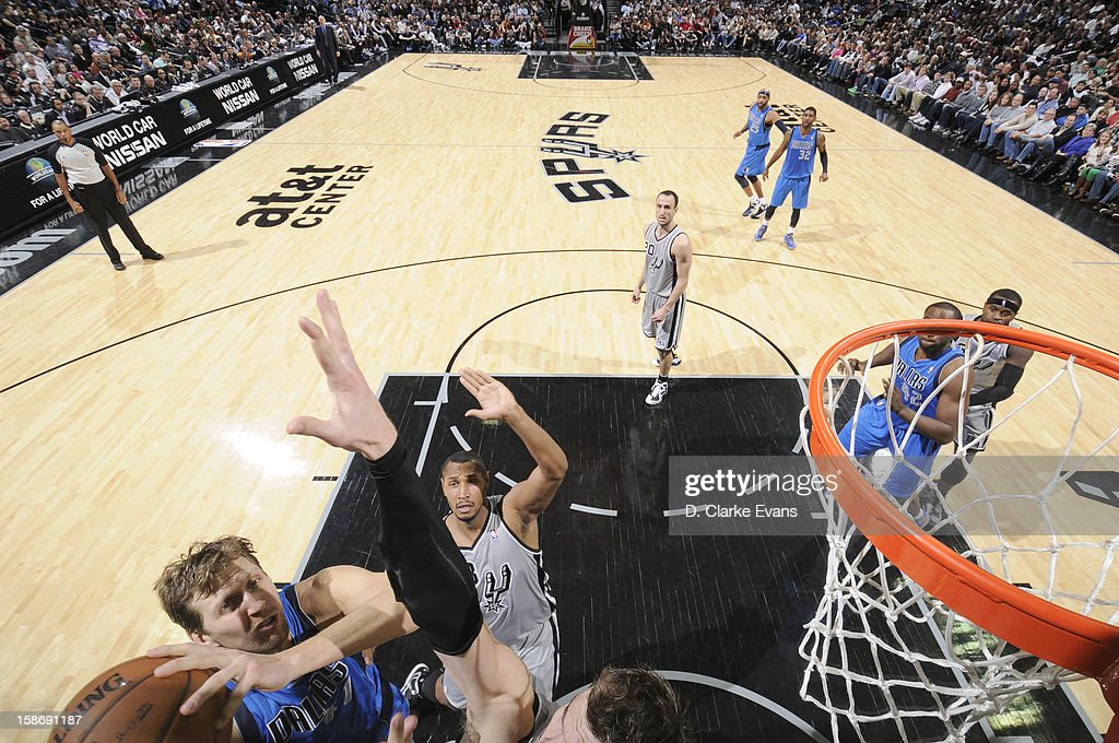 <a gi-track='captionPersonalityLinkClicked' href=/galleries/search?phrase=Dirk+Nowitzki&family=editorial&specificpeople=201490 ng-click='$event.stopPropagation()'>Dirk Nowitzki</a> #41 of the Dallas Mavericks goes to the basket during the game between the Dallas Mavericks and the San Antonio Spurs on December 23, 2012 at the AT&T Center in San Antonio, Texas.