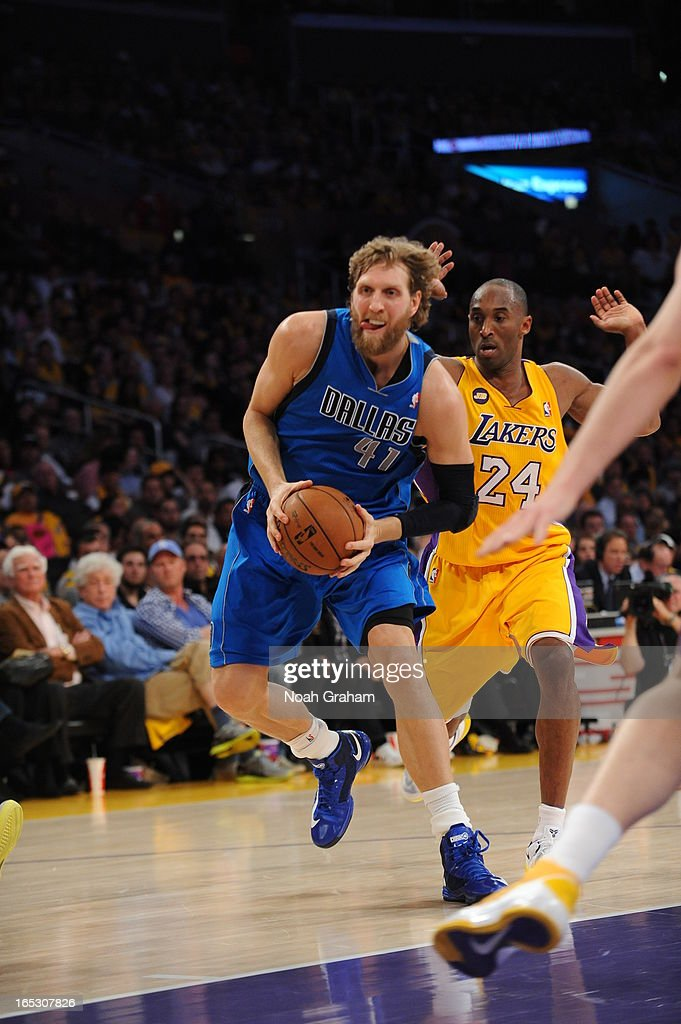 Dirk Nowitzki #41 of the Dallas Mavericks goes to the hoop past Kobe Bryant #24 of the Los Angeles Lakers at Staples Center on April 2, 2013 in Los Angeles, California.