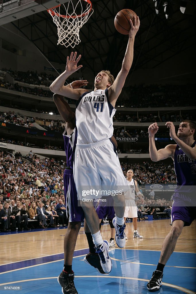 Dirk Nowitzki #41 of the Dallas Mavericks goes up for a layup against the Sacramento Kings during a game at the American Airlines Center on March 5, 2010 in Dallas, Texas.