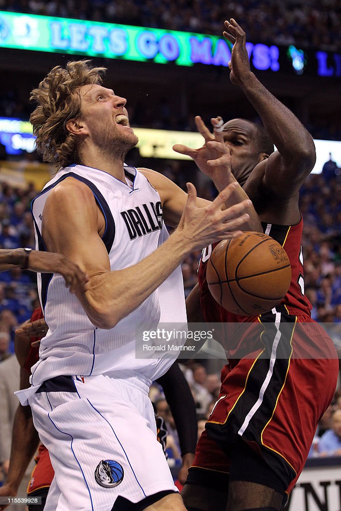 <a gi-track='captionPersonalityLinkClicked' href=/galleries/search?phrase=Dirk+Nowitzki&family=editorial&specificpeople=201490 ng-click='$event.stopPropagation()'>Dirk Nowitzki</a> #41 of the Dallas Mavericks goes up for a shot against <a gi-track='captionPersonalityLinkClicked' href=/galleries/search?phrase=Joel+Anthony&family=editorial&specificpeople=4092295 ng-click='$event.stopPropagation()'>Joel Anthony</a> #50 of the Miami Heat in the second quarter in Game Four of the 2011 NBA Finals at American Airlines Center on June 7, 2011 in Dallas, Texas.