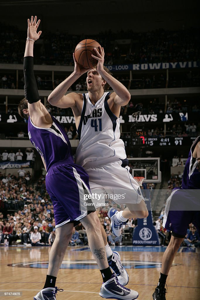 Dirk Nowitzki #41 of the Dallas Mavericks goes up for the jumper against Andres Nocioni #5 of the Sacramento Kings during a game at the American Airlines Center on March 5, 2010 in Dallas, Texas.