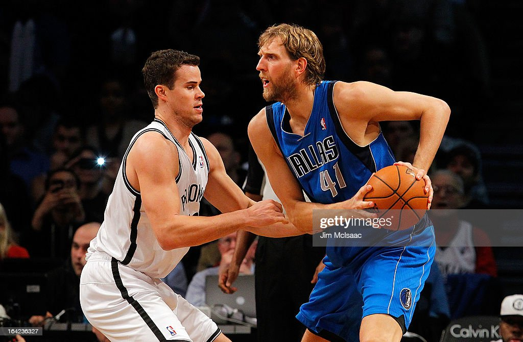 Dirk Nowitzki #41 of the Dallas Mavericks in action against Kris Humphries #43 of the Brooklyn Nets at Barclays Center on March 1, 2013 in the Brooklyn borough of New York City.The Mavericks defeated the Nets 98-90.