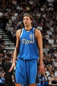 Dirk Nowitzki of the Dallas Mavericks in Game Four of the Western Conference Quarterfinals during the 2010 NBA Playoffs at ATT Center on April 25...