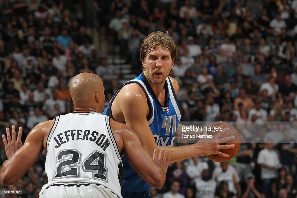 Dirk Nowitzki #41 of the Dallas Mavericks in Game Four of the Western Conference Quarterfinals during the 2010 NBA Playoffs at AT&T Center on April 25, 2010 in San Antonio, Texas.