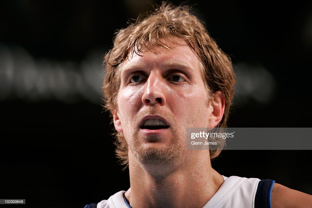 Dirk Nowitzki #41 of the Dallas Mavericks looks on during the game against the Chicago Bulls at the American Airlines Center on March 17, 2010 in Dallas, Texas. The Mavericks won 113-106.