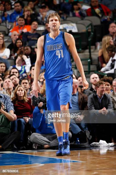 Dirk Nowitzki of the Dallas Mavericks looks on during the game against the Philadelphia 76ers on October 28 2017 at the American Airlines Center in...
