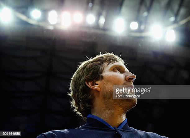 Dirk Nowitzki of the Dallas Mavericks looks on during the National Anthem before the Dallas Mavericks take on the Washington Wizards at American...