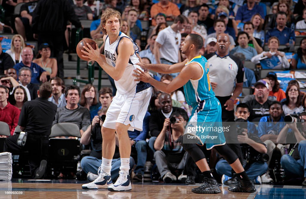 Dirk Nowitzki #41 of the Dallas Mavericks looks to pass the ball against the New Orleans Hornets on April 17, 2013 at the American Airlines Center in Dallas, Texas.