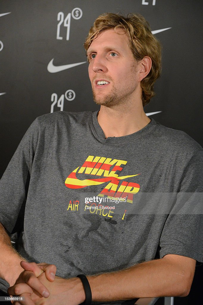 <a gi-track='captionPersonalityLinkClicked' href=/galleries/search?phrase=Dirk+Nowitzki&family=editorial&specificpeople=201490 ng-click='$event.stopPropagation()'>Dirk Nowitzki</a> #41 of the Dallas Mavericks makes a Nike appearence during NBA Europe Live 2012 on October 8, 2012 in Barcelona, Spain.