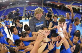 Dirk Nowitzki of the Dallas Mavericks participates in a NBA Cares Clinic at the Palau Blaugrana for NBA Europe Live 2012 on October 8 2012 in...