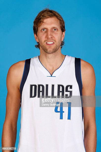 Dirk Nowitzki of the Dallas Mavericks poses for a head shot during Media Day on September 28 2015 at the American Airlines Center in Dallas Texas...