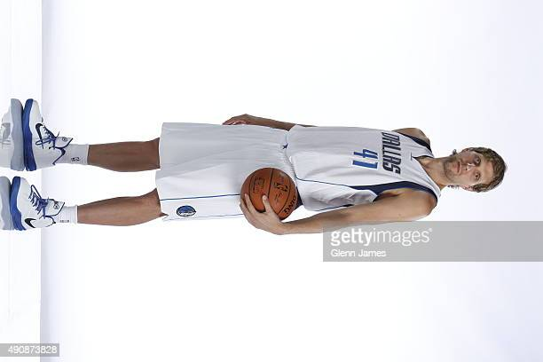 Dirk Nowitzki of the Dallas Mavericks poses for a photo during media day on September 28 2015 at the American Airlines Center in Dallas Texas NOTE TO...