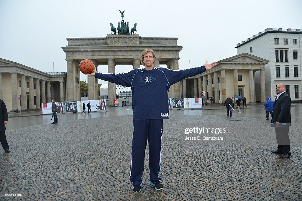 <a gi-track='captionPersonalityLinkClicked' href=/galleries/search?phrase=Dirk+Nowitzki&family=editorial&specificpeople=201490 ng-click='$event.stopPropagation()'>Dirk Nowitzki</a> #41 of the Dallas Mavericks poses for a photo in front of Brandenburg Gate during NBA Europe Live 2012 on October 6, 2012 in Berlin, Germany.