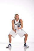 Dirk Nowitzki of the Dallas Mavericks poses for a portrait during 2009 NBA Media Day on September 28 2009 at the American Airlines Center in Dallas...