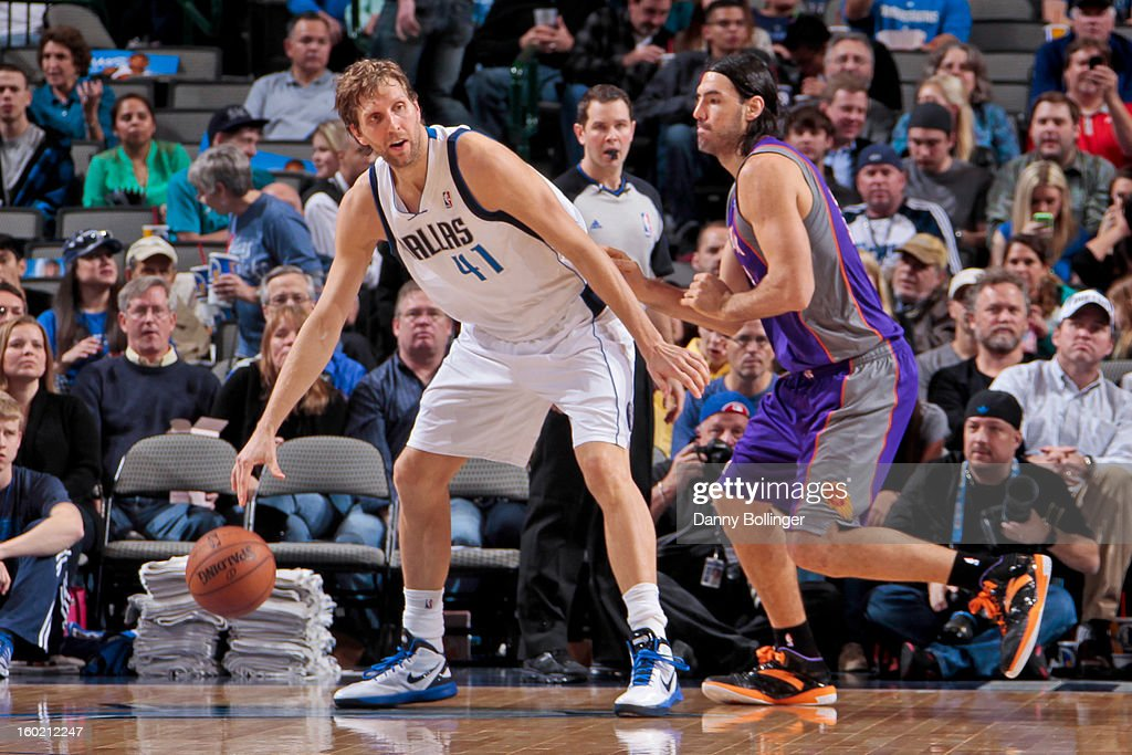 <a gi-track='captionPersonalityLinkClicked' href=/galleries/search?phrase=Dirk+Nowitzki&family=editorial&specificpeople=201490 ng-click='$event.stopPropagation()'>Dirk Nowitzki</a> #41 of the Dallas Mavericks posts up against <a gi-track='captionPersonalityLinkClicked' href=/galleries/search?phrase=Luis+Scola&family=editorial&specificpeople=2464749 ng-click='$event.stopPropagation()'>Luis Scola</a> #14 of the Phoenix Suns on January 27, 2013 at the American Airlines Center in Dallas, Texas.