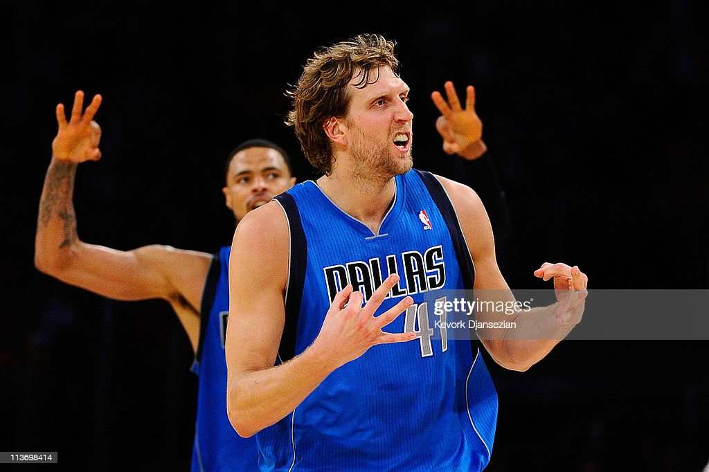 <a gi-track='captionPersonalityLinkClicked' href=/galleries/search?phrase=Dirk+Nowitzki&family=editorial&specificpeople=201490 ng-click='$event.stopPropagation()'>Dirk Nowitzki</a> #41 of the Dallas Mavericks reacts after making a three-pointer in the third quarter while taking on the Los Angeles Lakers in Game Two of the Western Conference Semifinals in the 2011 NBA Playoffs at Staples Center on May 4, 2011 in Los Angeles, California.