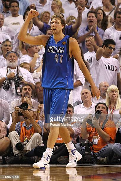 Dirk Nowitzki of the Dallas Mavericks reacts against the Miami Heat in Game Two of the 2011 NBA Finals at American Airlines Arena on June 2 2011 in...
