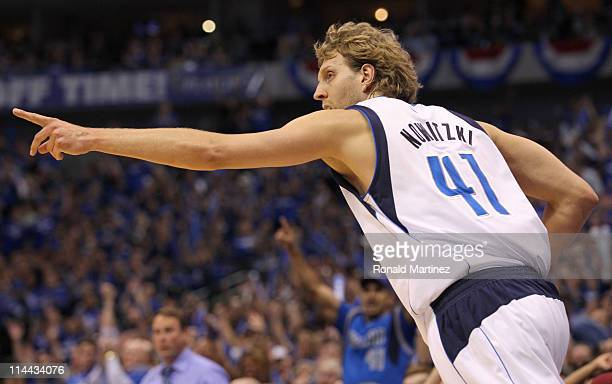 Dirk Nowitzki of the Dallas Mavericks reacts in the first quarter while taking on the Oklahoma City Thunder in Game Two of the Western Conference...