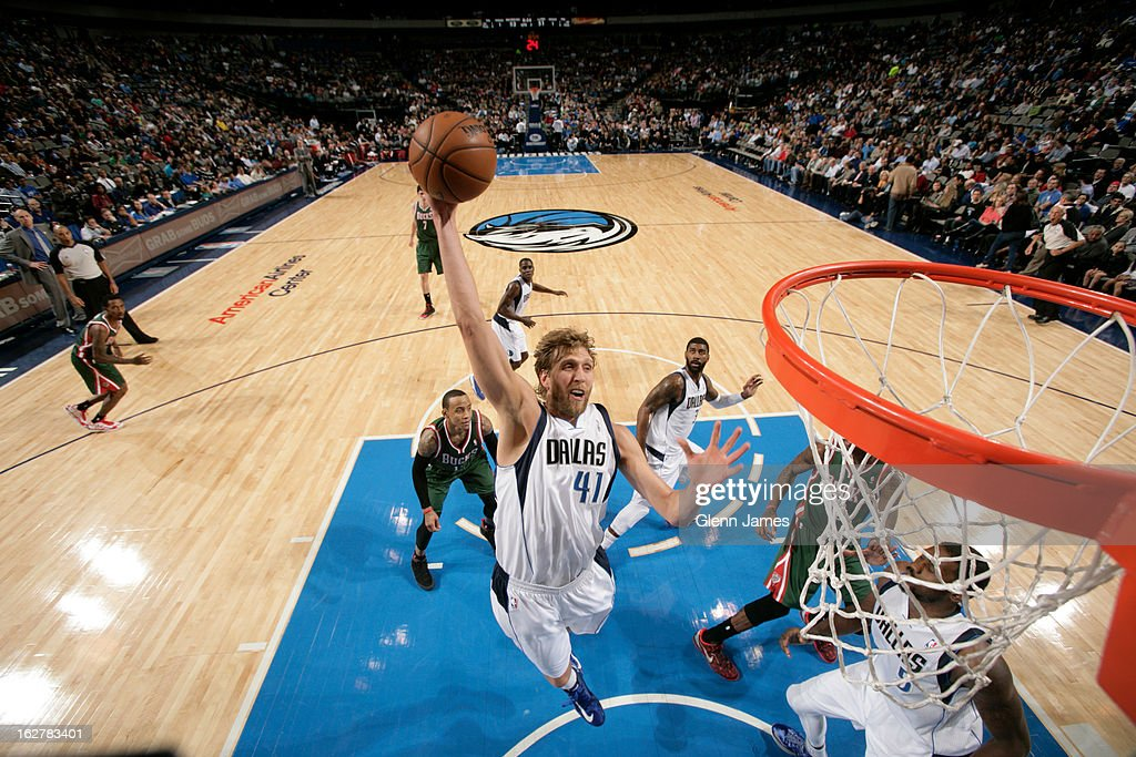 Dirk Nowitzki #41 of the Dallas Mavericks rebounds against the Milwaukee Bucks on February 26, 2013 at the American Airlines Center in Dallas, Texas.