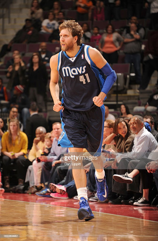 Dirk Nowitzki #41 of the Dallas Mavericks runs up court during the game between the Detroit Pistons and the Dallas Mavericks on March 8, 2013 at The Palace of Auburn Hills in Auburn Hills, Michigan.
