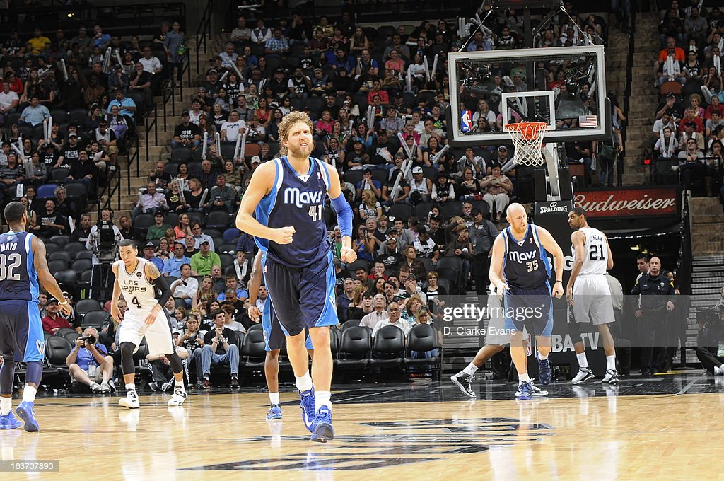 Dirk Nowitzki #41 of the Dallas Mavericks runs up the floor against the San Antonio Spurs on March 14, 2013 at the AT&T Center in San Antonio, Texas.