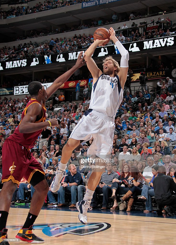 Dirk Nowitzki #41 of the Dallas Mavericks shoots a fade away against Tristan Thompson #13 of the Cleveland Cavaliers on March 15, 2013 at the American Airlines Center in Dallas, Texas.