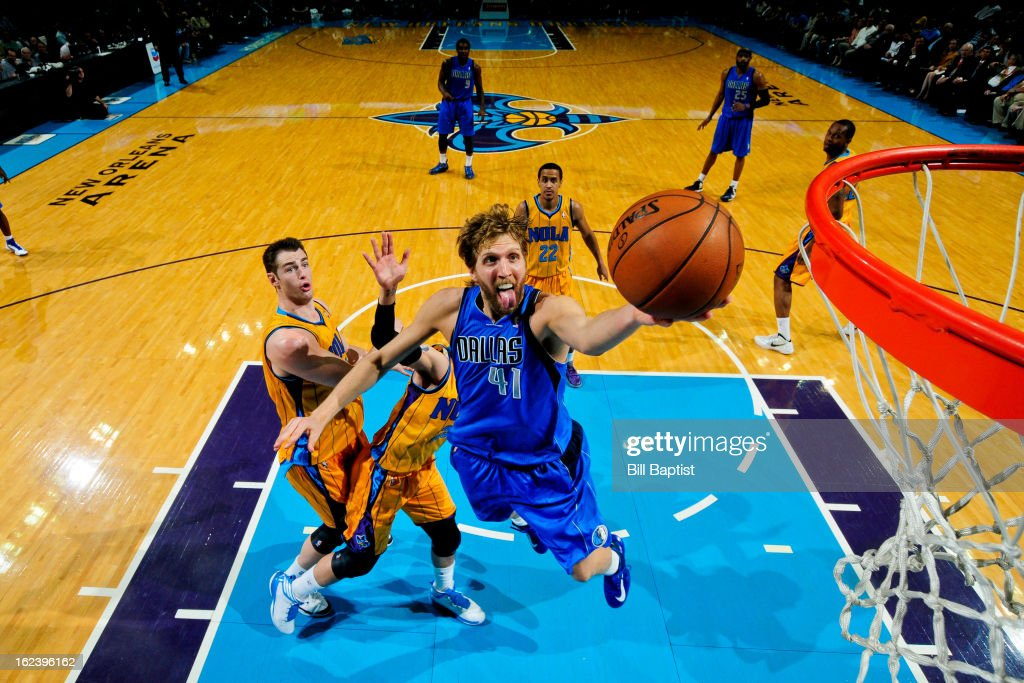 <a gi-track='captionPersonalityLinkClicked' href=/galleries/search?phrase=Dirk+Nowitzki&family=editorial&specificpeople=201490 ng-click='$event.stopPropagation()'>Dirk Nowitzki</a> #41 of the Dallas Mavericks shoots a layup against the New Orleans Hornets on February 22, 2013 at the New Orleans Arena in New Orleans, Louisiana.