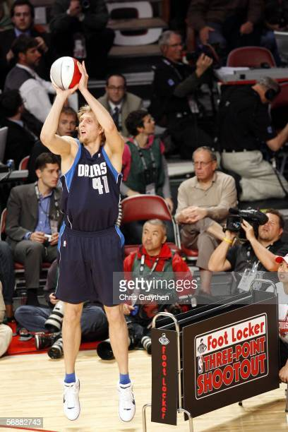 Dirk Nowitzki of the Dallas Mavericks shoots a money ball during the 2006 Footlocker ThreePoint Shootout on February 18 2006 at the Toyota Center in...