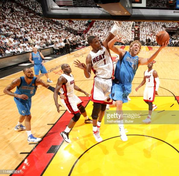 Dirk Nowitzki of the Dallas Mavericks shoots against Chris Bosh of the Miami Heat during Game One of the 2011 NBA Finals on May 31 2011 at the...