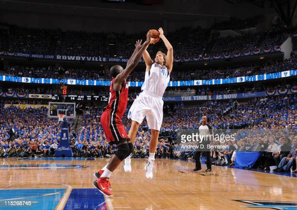 Dirk Nowitzki of the Dallas Mavericks shoots against Joel Anthony of the Miami Heat during Game Three of the 2011 NBA Finals against the on June 5...