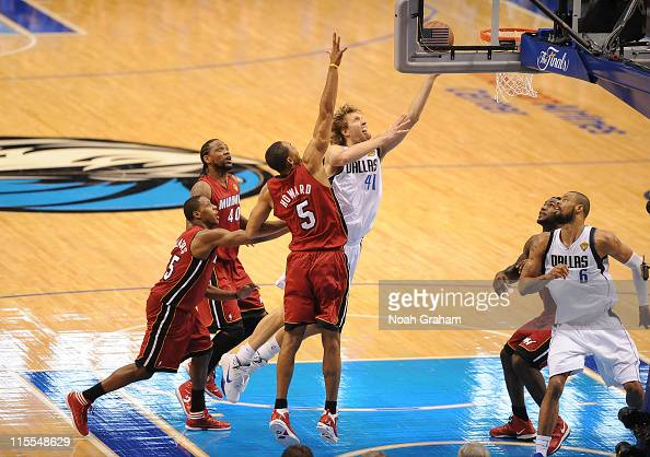 Dirk Nowitzki of the Dallas Mavericks shoots against Juwan Howard of the Miami Heat during Game Four of the 2011 NBA Finals on June 7 2011 at the...