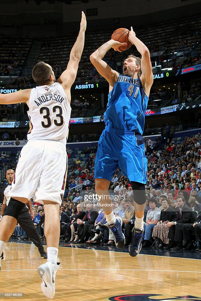 <a gi-track='captionPersonalityLinkClicked' href=/galleries/search?phrase=Dirk+Nowitzki&family=editorial&specificpeople=201490 ng-click='$event.stopPropagation()'>Dirk Nowitzki</a> #41 of the Dallas Mavericks shoots against the New Orleans Pelicans on December 4, 2013 at the New Orleans Arena in New Orleans, Louisiana.