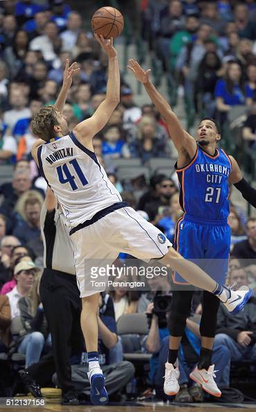 Dirk Nowitzki of the Dallas Mavericks shoots the ball against Andre Roberson of the Oklahoma City Thunder in the first half at American Airlines...