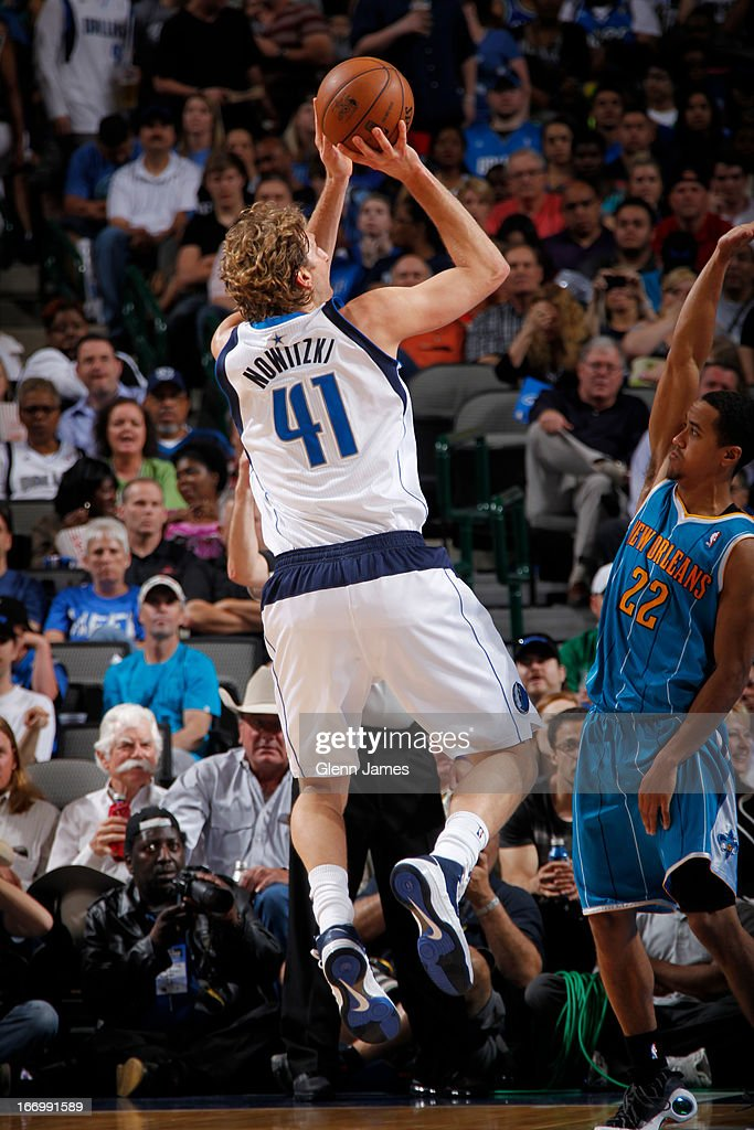 Dirk Nowitzki #41 of the Dallas Mavericks shoots the ball against the New Orleans Hornets on April 17, 2013 at the American Airlines Center in Dallas, Texas.