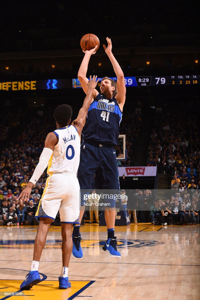 Dirk Nowitzki #41 of the Dallas Mavericks shoots the ball against the Golden State Warriors on December 14, 2017 at ORACLE Arena in Oakland, California.