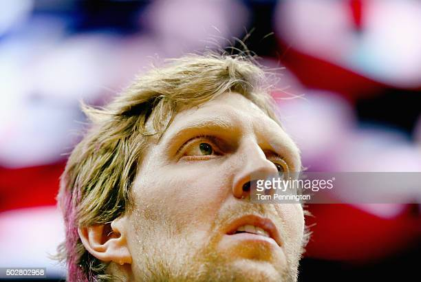 Dirk Nowitzki of the Dallas Mavericks stands during the National Anthem before taking on the Milwaukee Bucks at American Airlines Center on December...