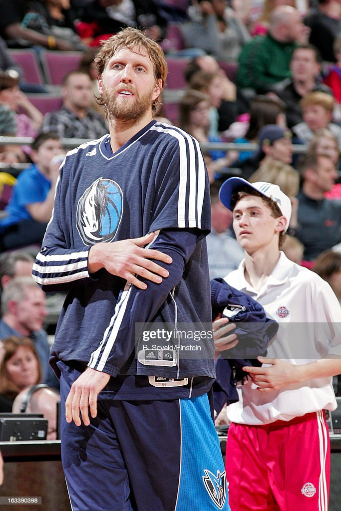 <a gi-track='captionPersonalityLinkClicked' href=/galleries/search?phrase=Dirk+Nowitzki&family=editorial&specificpeople=201490 ng-click='$event.stopPropagation()'>Dirk Nowitzki</a> #41 of the Dallas Mavericks waits to check into a game against the Detroit Pistons on March 8, 2013 at The Palace of Auburn Hills in Auburn Hills, Michigan.