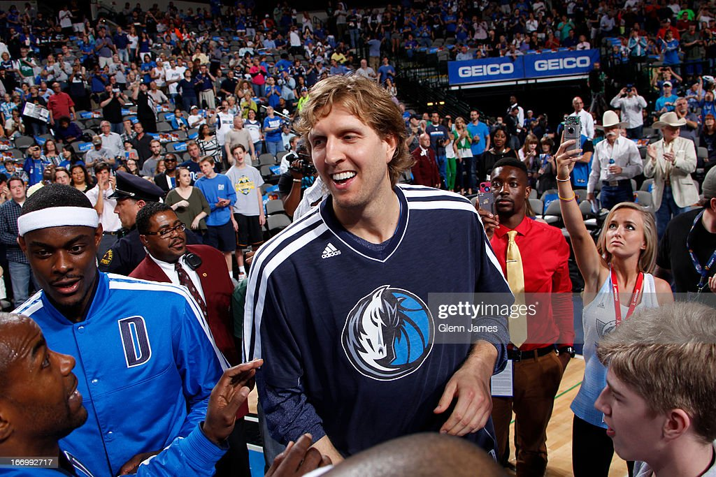 <a gi-track='captionPersonalityLinkClicked' href=/galleries/search?phrase=Dirk+Nowitzki&family=editorial&specificpeople=201490 ng-click='$event.stopPropagation()'>Dirk Nowitzki</a> #41 of the Dallas Mavericks walks out before the game against the New Orleans Hornets on April 17, 2013 at the American Airlines Center in Dallas, Texas.