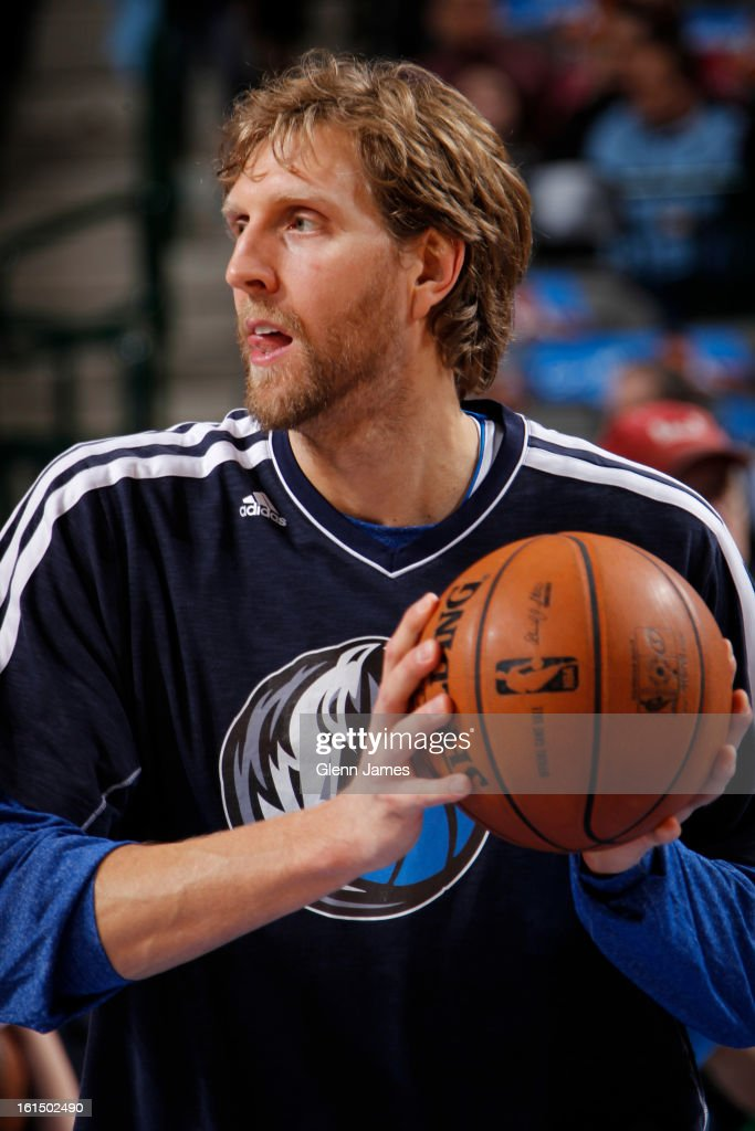Dirk Nowitzki #41 of the Dallas Mavericks warms up before the game against the Atlanta Hawks on February 11, 2013 at the American Airlines Center in Dallas, Texas.